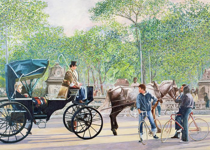 Transport Greeting Card featuring the painting Horse And Carriage by Anthony Butera