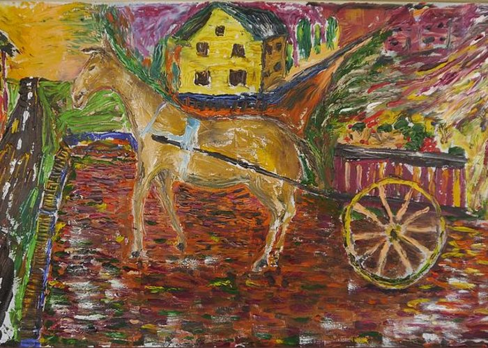 Horse Greeting Card featuring the painting Horse And Cart by Dozel Lake
