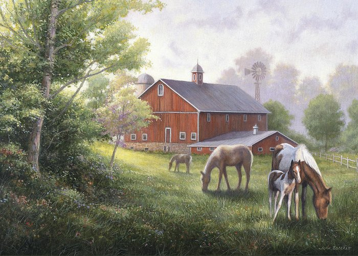 John Zaccheo Greeting Card featuring the painting Horse Barn by John Zaccheo