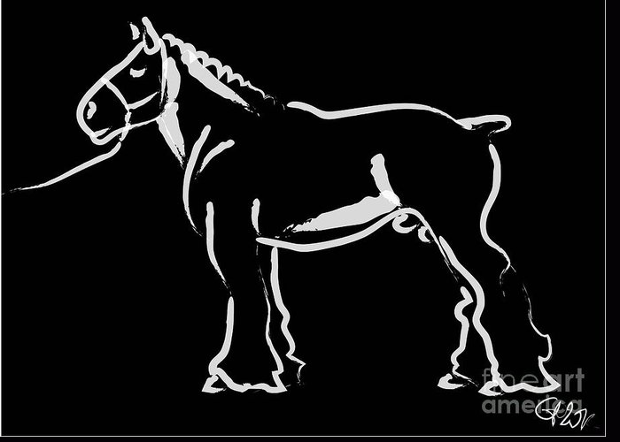 Big Horse Greeting Card featuring the painting Horse - Big Fella by Go Van Kampen