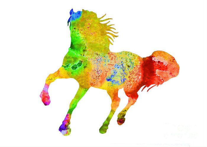 Horse Greeting Card featuring the painting Horse Colorful Silhouette Art Print Watercolor Paintig by Joanna Szmerdt