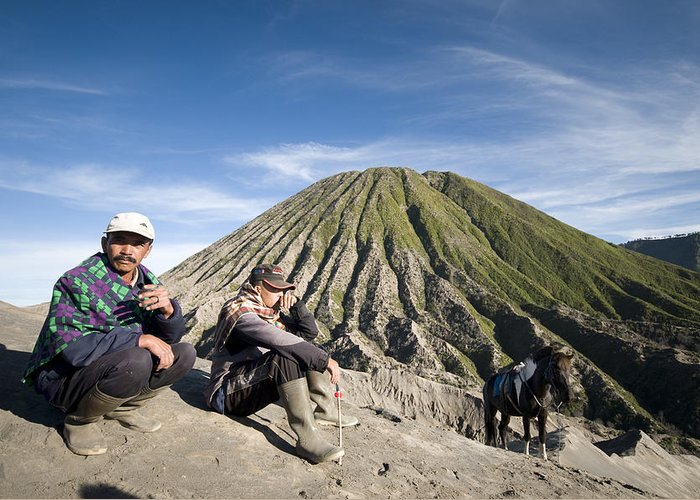 Horse Drivers Greeting Card featuring the digital art Horse Drivers Near A Volcano At Bromo Java Indonesia by Dray Van Beeck