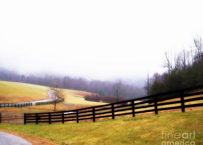 Lost In Thought Greeting Card featuring the digital art Horse Farm In Rocky Mt Va by Angelia Hodges Clay