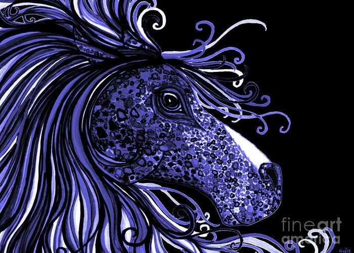 Horse Greeting Card featuring the drawing Horse Head Blues by Nick Gustafson