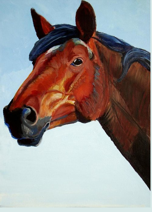 Horse Greeting Card featuring the painting Horse Head by Mike Jory