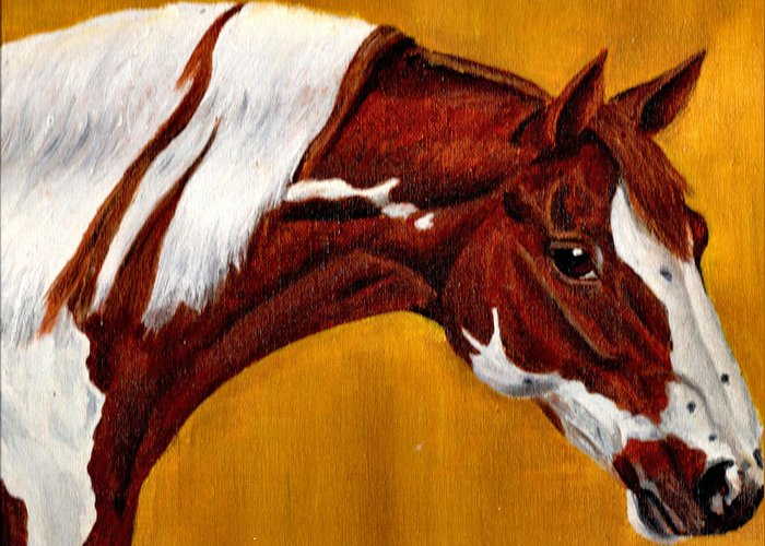 Nature Greeting Card featuring the painting Horse Head Study by Joy Reese