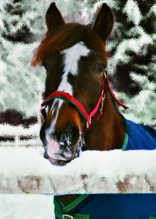 Horse Greeting Card featuring the painting Horse In The Snow by Bruce Nutting