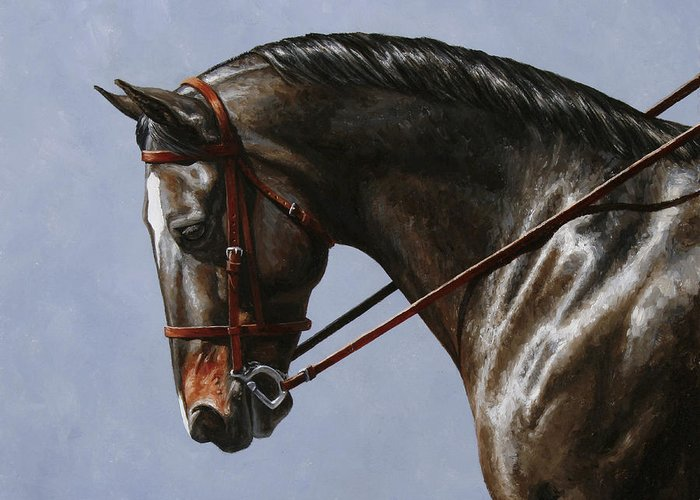 Horse Greeting Card featuring the painting Horse Painting - Discipline by Crista Forest