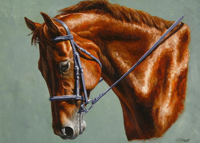 Horse Greeting Card featuring the painting Horse Painting - Focus by Crista Forest