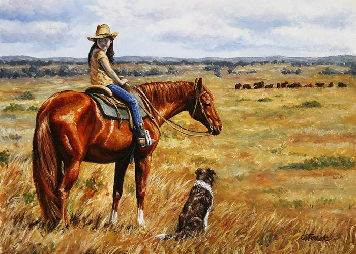 Western Greeting Card featuring the painting Horse Painting - Waiting For Dad by Crista Forest