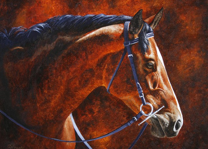 Horse Greeting Card featuring the painting Horse Painting - Ziggy by Crista Forest