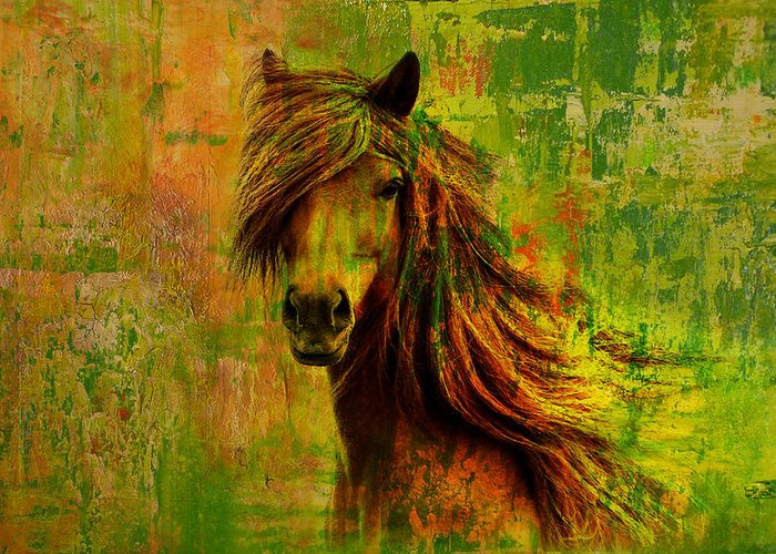 Horse In Water Paint Greeting Cards