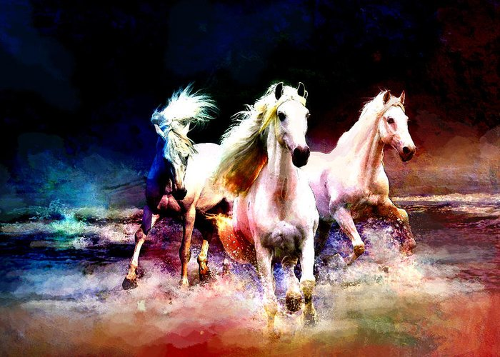 Horse Greeting Card featuring the painting Horse Paintings 002 by Catf