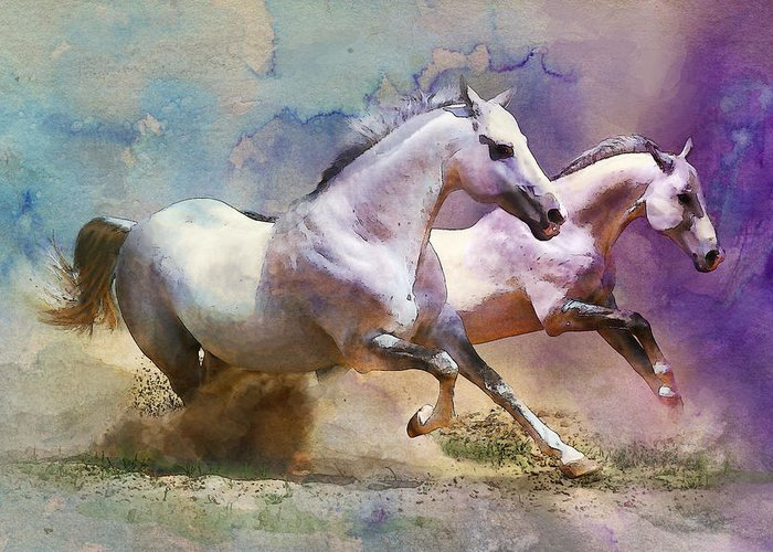 Horse Greeting Card featuring the painting Horse Paintings 004 by Catf