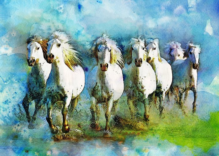 Horse Greeting Card featuring the painting Horse Paintings 006 by Catf