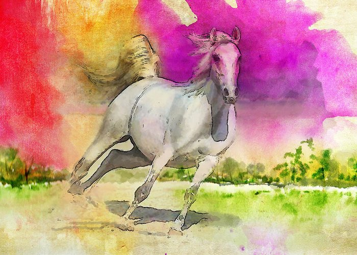 Horse Greeting Card featuring the painting Horse Paintings 007 by Catf