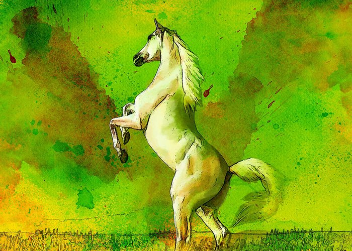 Horse Greeting Card featuring the painting Horse Paintings 010 by Catf