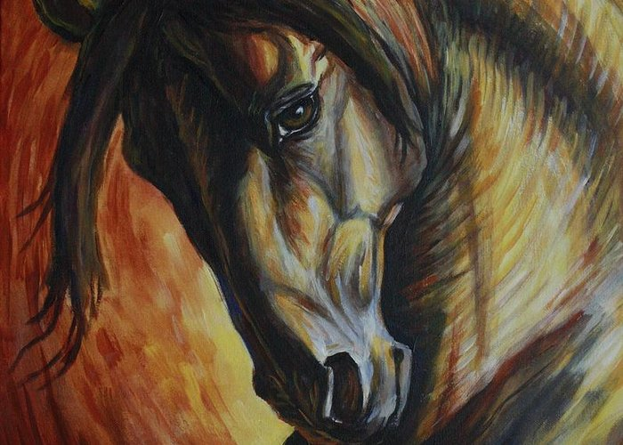 Horses Greeting Card featuring the painting Horse Power by Silvana Gabudean Dobre