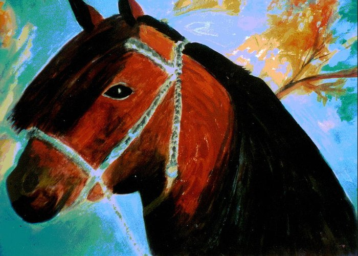 Horse Greeting Card featuring the painting Horse With Long Forelocks by Anne-Elizabeth Whiteway