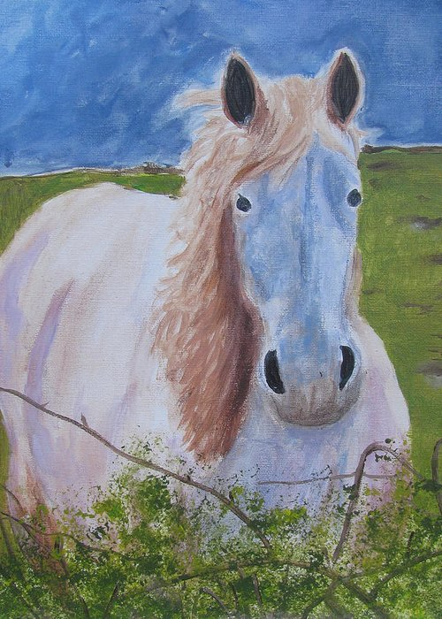 Horse Greeting Card featuring the painting Horse With Stormy Skies by Dawn Dreibus