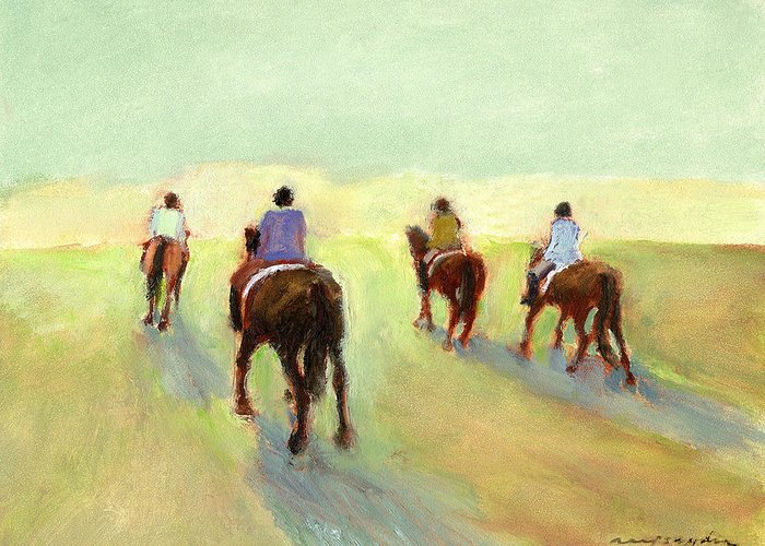 Horses Greeting Card featuring the painting Horseback Riders by J Reifsnyder
