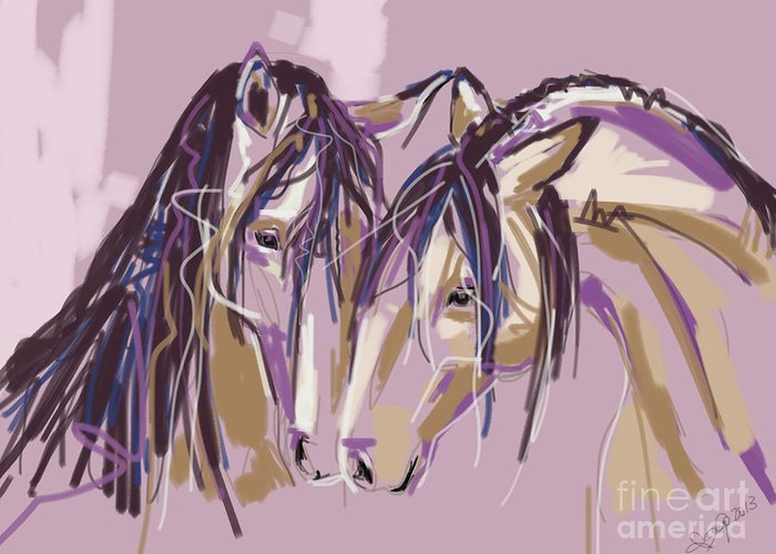 Horse Greeting Card featuring the painting horses Purple pair by Go Van Kampen