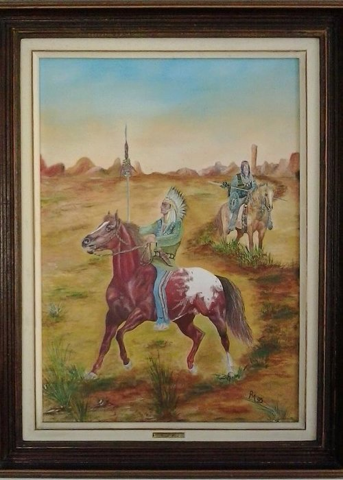 Horse Greeting Card featuring the painting Horses by Ri Mo