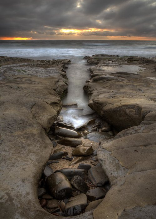Clouds Greeting Card featuring the photograph Horseshoes Beach Tidepools by Peter Tellone