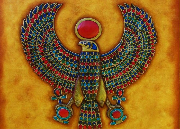 Horus Greeting Card featuring the mixed media Horus by Joseph Sonday