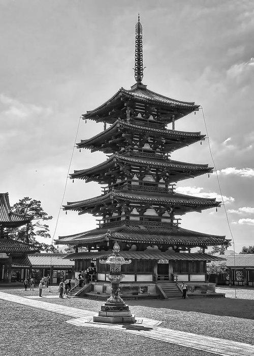 Pagoda Greeting Card featuring the photograph Horyu-ji Temple Pagoda B W - Nara Japan by Daniel Hagerman