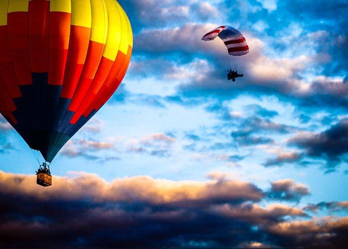 Hot Air Balloon Greeting Card featuring the photograph Hot Air Balloon And Powered Parachute by Bob Orsillo