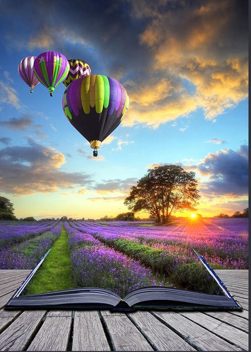 Magic Greeting Card featuring the photograph Hot Air Balloons And Lavender Book by Matthew Gibson