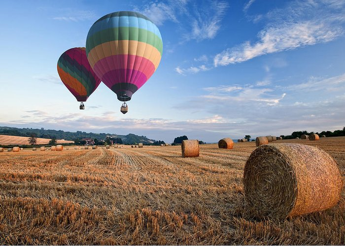 Landscape Greeting Card featuring the photograph Hot Air Balloons Over Hay Bales Sunset Landscape by Matthew Gibson