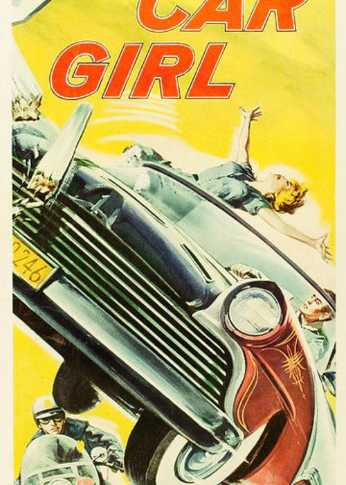 Hollywood Greeting Card featuring the drawing Hot Car Girl by MMG Archives