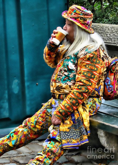Man On Bench Greeting Card featuring the photograph Hot Coffee And Haute Couture by Jeff Breiman