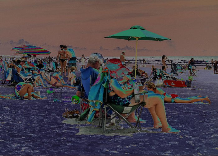 Solarized Greeting Card featuring the photograph Hot Day At The Beach - Solarized by Suzanne Gaff