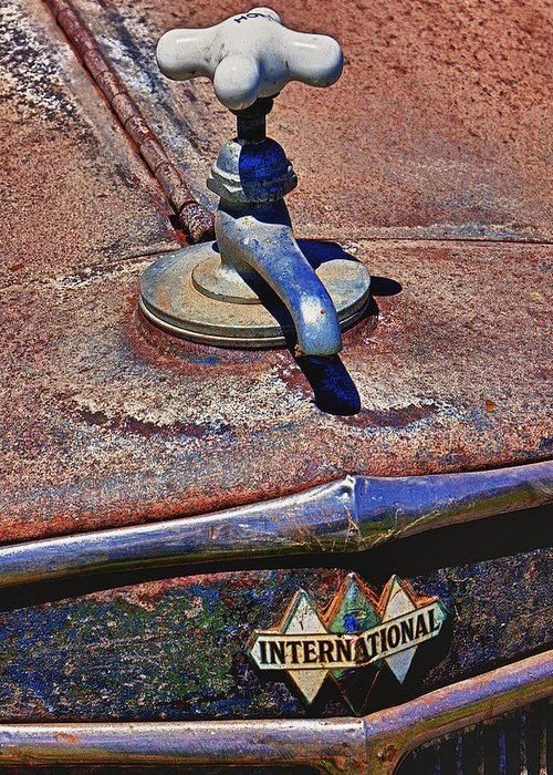 Hot Faucet Greeting Card featuring the photograph Hot Faucet Hood Ornament by Garry Gay