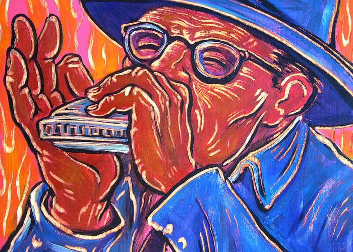 Blues Greeting Card featuring the painting Hot Harp by Robert Ponzio