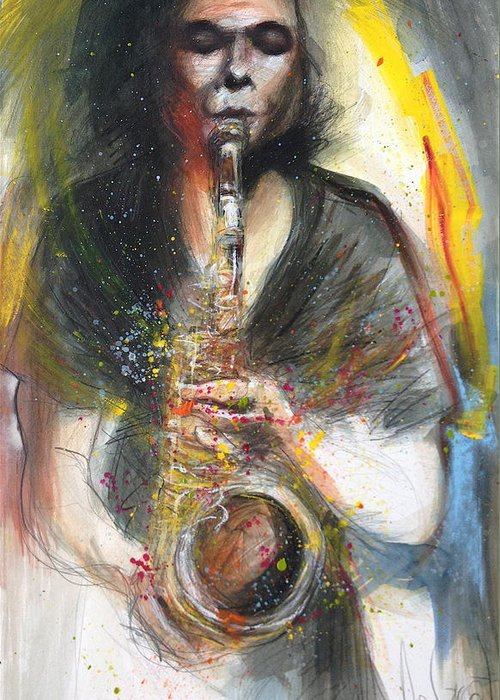 Hot Greeting Card featuring the painting Hot Jazz Man by Gregory DeGroat