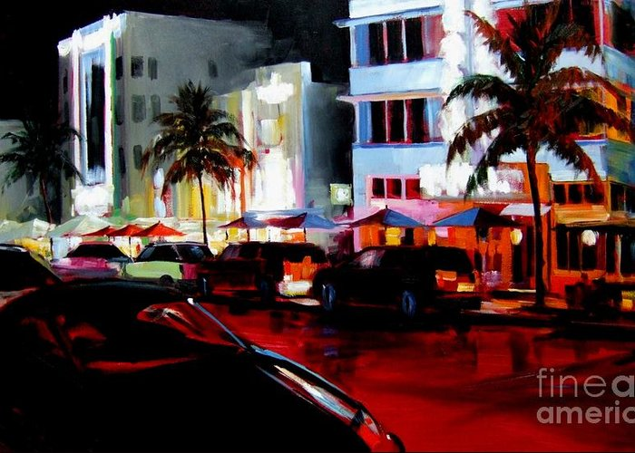 South Beach Greeting Card featuring the painting Hot Nights In South Beach - Oil by Michael Swanson