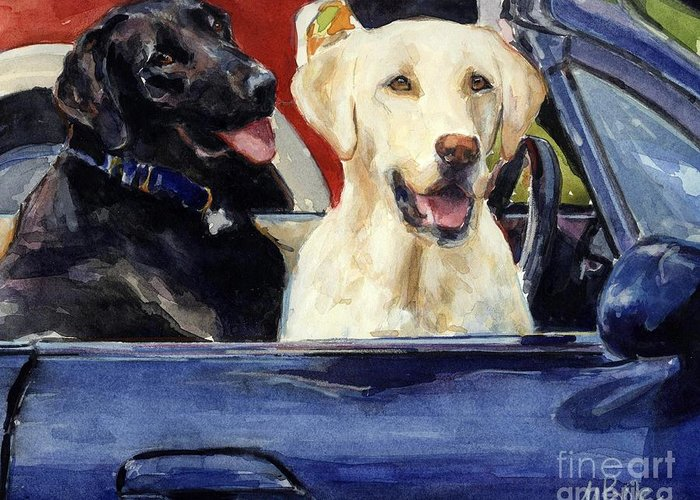 Yellow Lab Greeting Card featuring the painting Hot Wheels by Molly Poole