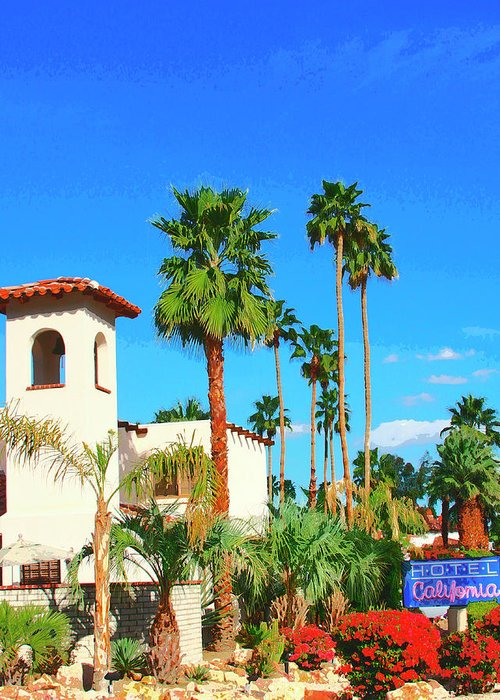Hotel California Palm Springs Greeting Card For Sale By William Dey