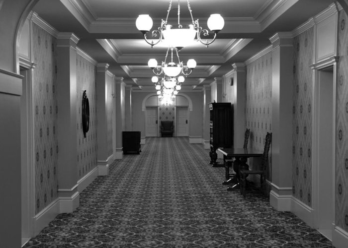 Black And White Greeting Card featuring the painting Hotel Hallway by Kirt Tisdale