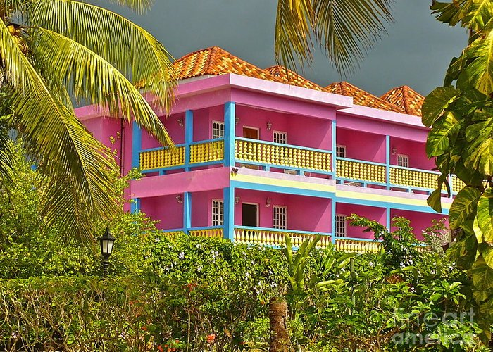 Hotel Greeting Card featuring the photograph Hotel Jamaica by Linda Bianic