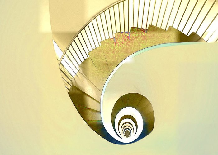 Hotel Greeting Card featuring the photograph Hotel Staircase Lisbon by Indiana Zuckerman