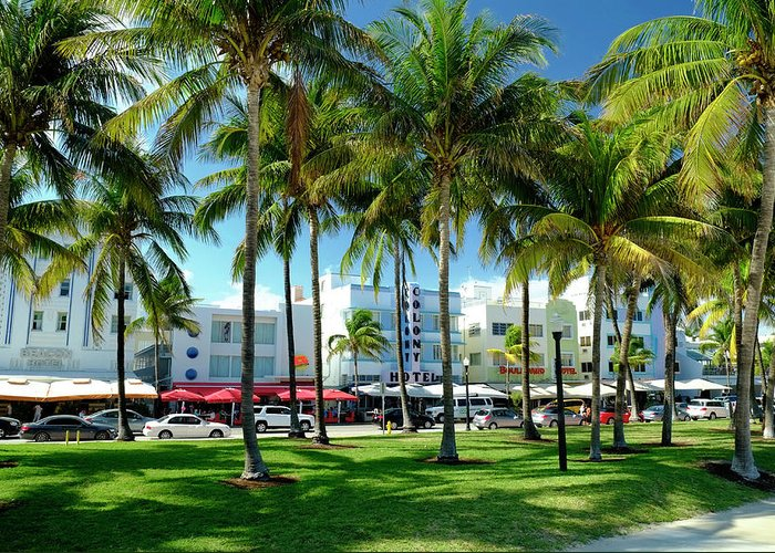 Hotel Greeting Card featuring the photograph Hotels At Ocean Drive, South Beach by Travelpix Ltd