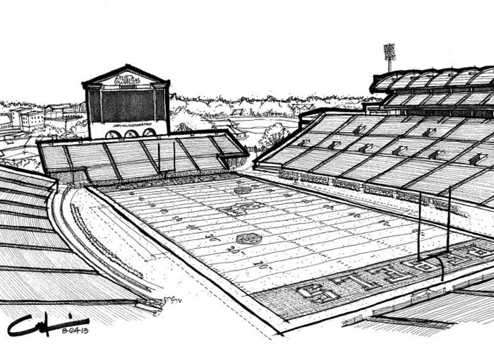 Vaught Hemingway Stadium Greeting Card featuring the drawing Hotty Toddy by Calvin Durham