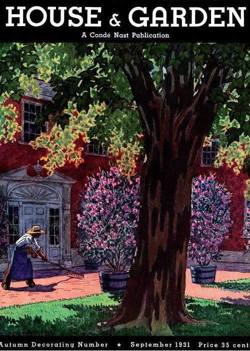 House & Garden Greeting Card featuring the photograph House & Garden Cover Illustration Of A Gardener by Pierre Brissaud