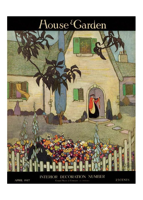 House & Garden Greeting Card featuring the photograph House & Garden Cover Illustration Of An by Porter Woodruff