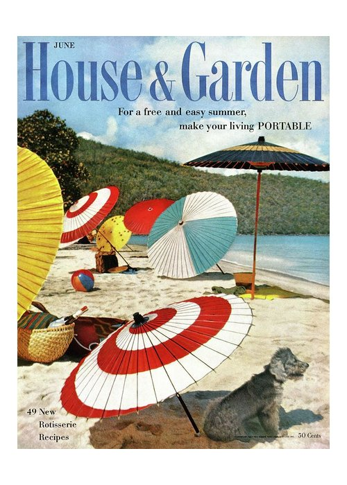 Exterior Greeting Card featuring the photograph House And Garden Featuring Umbrellas On A Beach by Otto Maya & Jess Brown